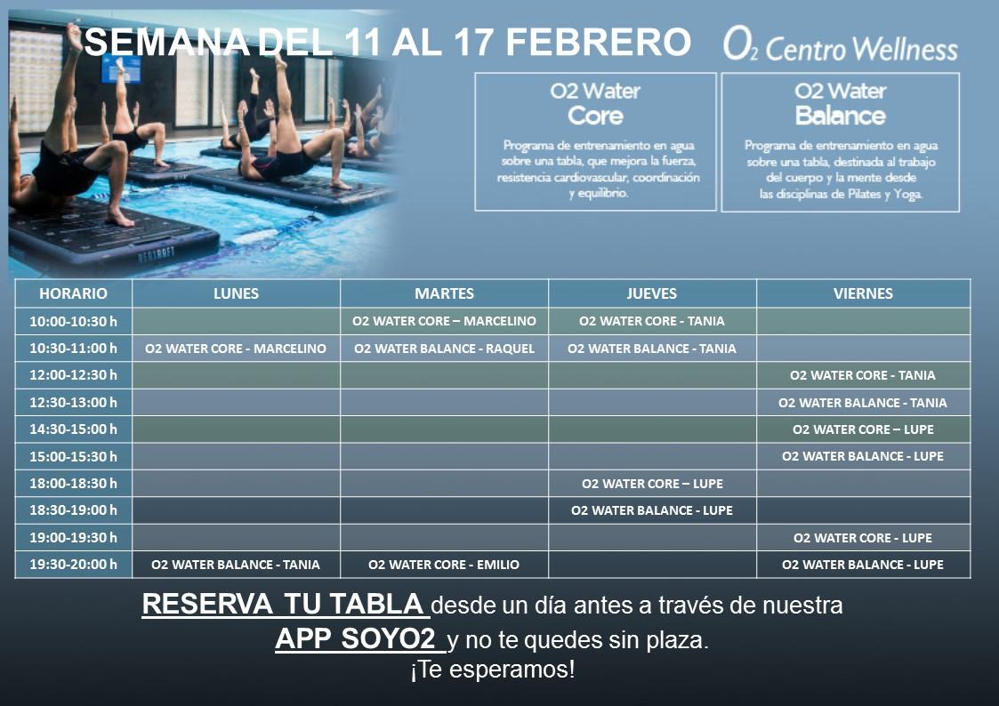 Planificación de Clases de O2 Water del 11 al 17 de Febrero